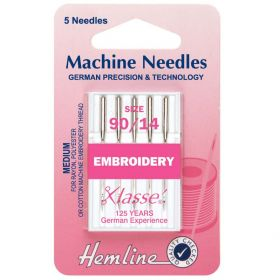 Hemline H108.90 | Sewing Machine Needles |  Embroidery: Medium 90/14: 5 Pieces Embroidery Needles