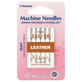 Hemline H104.110 | Sewing Machine Needles |  Leather: Heavy 110/18: 5 Pieces Leather Needles