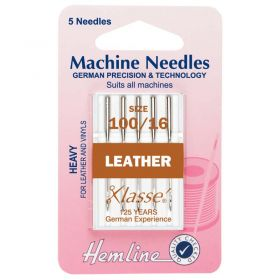 Hemline H104.100 | Sewing Machine Needles |  Leather: Heavy 100/16: 5 Pieces Leather Needles