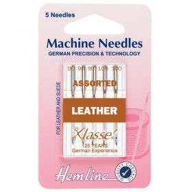 Hemline H104.99 | Sewing Machine Needles |  Leather: Mixed: 5 Pieces Leather Needles