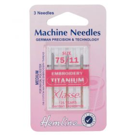 Hemline H108.T | Sewing Machine Needles |  Titanium: Embroidery: 75/11: 3 Pieces Embroidery Needles