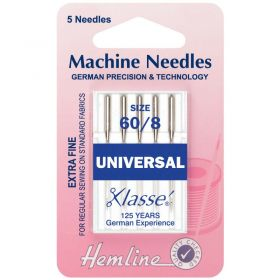 Hemline H100.60 | Sewing Machine Needles |  Universal: Extra Fine - Size 60/8: 5 Pieces Universal Needles